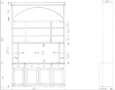 """Simple pencil drawing in a fairly close scale for a tall entertainment center / built in for Vincent Scurria in Houston, TX.  Paint grade.  Flat panel / Shaker style doors.  Radiused (arched) opening at the top.  Flat screen will mount on back wall and pull forward, flush with front face frame, with about 1"""" of clearance all the way around."""