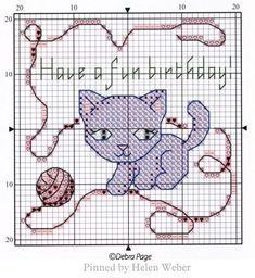 Cat Cross Stitches, Funny Cross Stitch Patterns, Cross Stitch Baby, Cross Stitch Embroidery, Cat Birthday, Birthday Cards, Crochet, Kitten, Kids Rugs