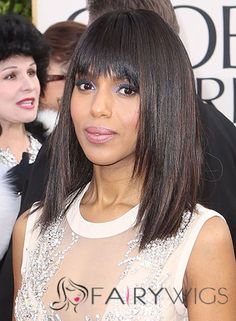 Kerry Washington Medium Straight Formal Hairstyle with Layered Bangs – Black Hair Color with Brunette Highlights – formal hairstyles Formal Hairstyles Men, Thin Hair Haircuts, Straight Hairstyles, Medium Hair Cuts, Medium Hair Styles, Long Hair Styles, Thin Straight Hair, Square Face Hairstyles, Brunette Highlights