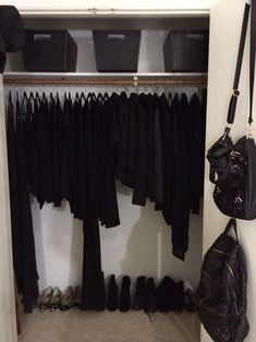 Black wardrobe closet, minimal wardrobe, winter wardrobe, all black clothin Black Wardrobe Closet, Minimal Wardrobe, Wardrobe Rack, Winter Wardrobe, Trending Paint Colors, Paint Colors For Home, Dream Closets, All Black Everything, Home Trends