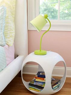 Bedside lamps hold books and a reading light. Perfect for bedtime stories.