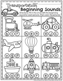 Preschool Beginning Sounds Transportation Worksheet