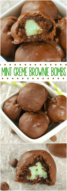 Brownie truffles filled with mint creme Candy Recipes, Brownie Recipes, Chocolate Recipes, Sweet Recipes, Baking Recipes, Cookie Recipes, Dessert Recipes, Mint Chocolate, Just Desserts
