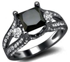 3.0ct Black Princess Cut Diamond Engagement Ring 18k Black Gold