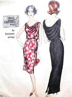 Late Stunning Simonetta Evening Gown Cocktail Dress Pattern Vogue Couturier Design 1145 Slim Skirt Striking Bias Front and Back Draped Bust 36 Vintage Sewing Pattern FACTORY FOLDED +Label-Authentic vintage sewing patterns: This is a fabulous o Evening Dress Patterns, Vogue Dress Patterns, Vintage Vogue Patterns, Motif Vintage, Clothing Patterns, Vintage Dresses, Vintage Outfits, Vintage Fashion, 1950s Fashion