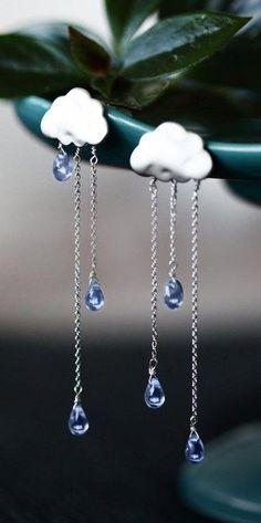 SUMMER RAIN silver long chain light blue drops rain - cloud earrings #SilverDropEarrings Glass Jewelry, Jewelry Gifts, Jewelry Accessories, Jewelry Necklaces, Fine Jewelry, Gold Bracelets, Trendy Jewelry, Fashion Jewelry, Jewelry Ideas