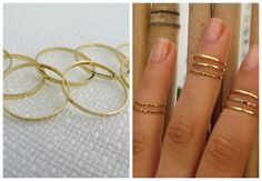 Gold Ring  Stacking rings Knuckle Ring Thin gold by HLcollection