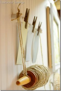 twine wrapped around rolling pin and lots of other great ideas!