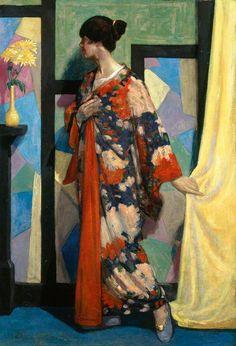 'Kimono Study' by William McCance, 1919. Oil on canvas.