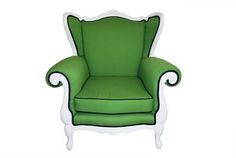 Winston Wingback Chair - Love the green and black piping. Would like it more if the legs and back molding were black too.