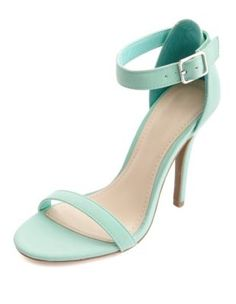 Nubuck single sole ankle strap heels in mint. Only $28.50. Style on a budget.
