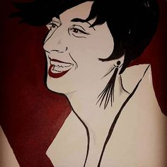 Joy #portrait #face #painting #smile #laughter #vintage #drawing #illustration #red #blackandwhite #shorthair #profile #elegant #woman