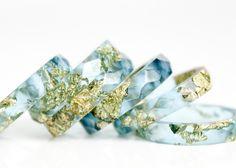 ocean blue metallic gold leaf size 9.5  geo by RosellaResin, $50.00