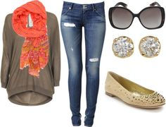 """""""Brown and Coral"""" by fashionista-ems on Polyvore"""