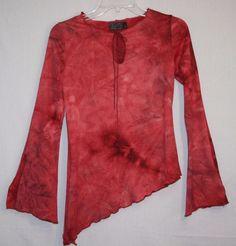 MCM Asymmetrical Hi Low Stretch Blouse Top Medium Long Bell Sleeve Clubwear Women's Fashion Style