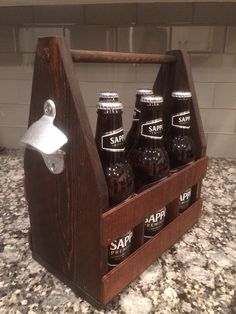 I made this beer caddy for my friend's husband for his birthday this year. It was fun to learn how to use the router...okay maybe it wasn't fun, but I'm glad I used it. The best part is he liked his present. Plans on www.thenewhobbiest.com