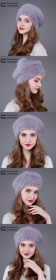 2017 New Style Women Winter Mink Fur Hats Real Fur Caps Thick Knitted Mink Fur Berets for Russia Female Casual Caps 7 Colors