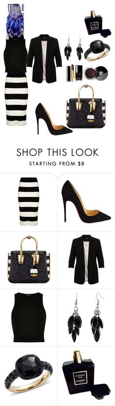 """#DS#"" by kivericdamira ❤ liked on Polyvore featuring Milly, Christian Louboutin, MCM, Miss Selfridge, River Island, Alexa Starr, Pomellato and Chanel"