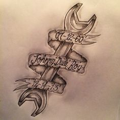 Requested Wrench / Banner memorial tattoo sketch by - Ranz