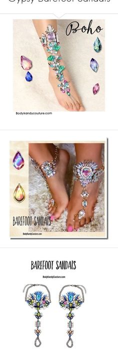 Gypsy Barefoot Sandals by bodykandycouture. Jeweled Barefoot Sandals Wedding Beach Boho Foot Jewelry with Gold Ankle Chains and Beaded Rhinestones. Beach Wedding Theme Ideas, Gypsy Wedding Bohemian Foot Jewelry. Gorgeous Summer Barefoot Bridal Sandals. #beachweddingshoes #jeweledbarefootsandals #barefootsandals