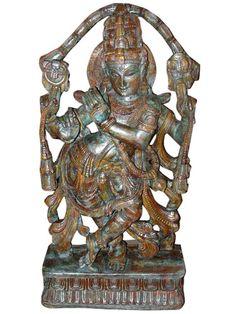 "Antique Krishna Sculpture Hand Carved Wood Hindu Statue 50"" | eBay"