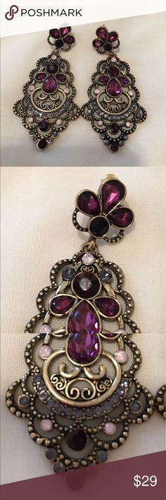 Jeweled Earrings Too beautiful for words. Easy to wear. Impeccable condition. Jewelry Earrings