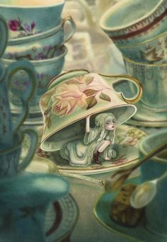 """An exclusive Fineart for the """"Mad Tea Party"""", the exhibition of Benjamin Lacombe at the gallery Daniel Maghen in Paris. Art Bizarre, Creepy Art, Weird Art, Alice In Wonderland Aesthetic, Alice In Wonderland Drawings, Surrealism Drawing, Pop Surrealism, Art Sinistre, Arte Lowbrow"""