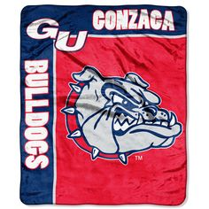 Gonzaga Bulldogs NCAA Royal Plush Raschel Blanket (School Spirit Series) (50in x 60in)