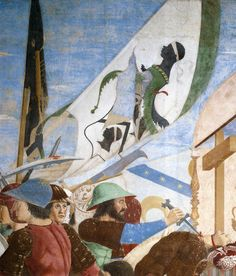 eveningontheground submitted to medievalpoc:   Battle between Heraclius and Chosroes (detail) 1452-66FrescoSan Francesco, Arezzo  [mod note] You can see about 10 close ups and the full painting by Piero Della Francesca here at wga.hu, as well as some descriptions of the composition and the subject.