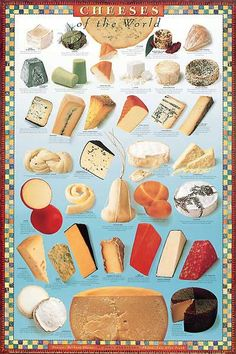 Cheeses of the World poster.  Fun Fact:  cheeses were sourced from Central Market in Austin : )     431846_Cheeses-of-the-World.jpg (399×600)