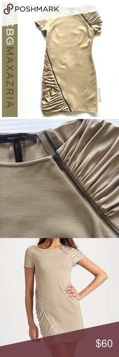 """BCBG maxazria tan dress with zippers BCBG MAXAZRIA dress.   It's a thick material bodycon dress (or could be worn more loose like the model).   Features functioning gunmetal logoed zippers. Make the dress as sexy as you'd like by unzipping it.  The sleeve and side are a silky ruffled material (the leg has a little pull, pictured)  Length: 31""""  A really great comfortable dress.  Works well for news anchors, or unzip it for a night out. BCBGMaxAzria Dresses Mini"""