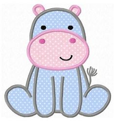 Hippo 2 Applique - 3 Sizes! | What's New | Machine Embroidery Designs | SWAKembroidery.com Fun Stitch