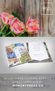 Bellflower funeral program template, Customised by a professional Graphic Designer for only $99.90. Designed by Memory Press, available at memorypress.co