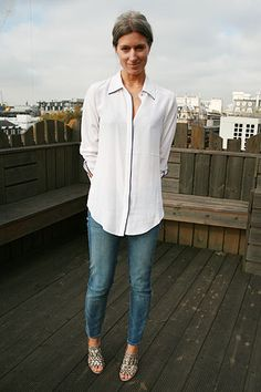 Sarah Harris - Fashion's Night In (Vogue.com UK) | I'm wearing Paige jeans with a Freda shirt and Jimmy Choo shoes.