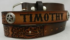 Leather name belt with longhorn conchos added Grandkids, Belt, Leather, Gifts, Accessories, Belts, Presents, Favors, Gift
