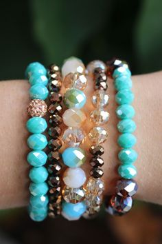 We love Erimish! This great stack contains a mix of turquoises, browns, and nudes! $29 for all five bracelets!