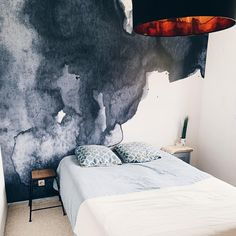 Our Smoulder mural has been used here in a modern blue bedroom by The stormy navy watercolour design of this wall mural creates… Smoke Wallpaper, Watercolor Wallpaper, Watercolor Walls, Watercolor Design, Watercolour, Accent Wall Bedroom, Blue Bedroom, Classic Home Decor, Classic Interior