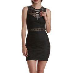 Sleeveless Crochet Cut-Out Bodycon Dress