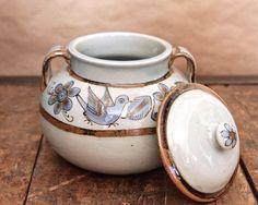 vintage KEN EDWARDS STONEWARE tureen in El Palomar pattern, Tonala pottery, Mexican folk art, Two (2) quart capacity bean pot / soup tureen by ConstableDewey on Etsy