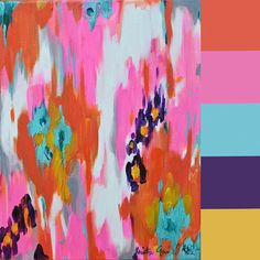These paintings by Kristy Gammill, which are literally dripping with color, are making the rounds on Pinterest art boards of late. They're sort of impressionist meets abstract, with a bit of ethnic patterning thrown in. The mix of bright and pretty colors, with a pop of neon, make them an appealing candidate for a Colourlovers palette workup.