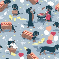 Hot dogs and lemonade // pastel blue background cute Dachshunds fabric by selmacardoso on Spoonflower - custom fabric