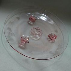 Footed Mini Cake Stand Plate 7 W H Easter Pink Etched Depression Glass Mini Cake Stand, Glass Cookie Jars, Glass Fruit Bowl, Glass Cakes, Cooking Supplies, Pink Depression Glass, Plate Stands, Glass Company, Cake Plates