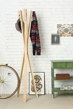 Clothespin Coat Rack