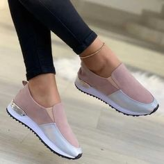 Fashion Women Flats Sneakers Cut Out Suede Leather Moccasins Women Boat Shoes Platform Ballerina Ladies Casual Shoes Wedge Heel Sneakers, Sneaker Heels, Heeled Loafers, Slip On Sneakers, Summer Sneakers, Sneakers Women, Sneaker Outfits, Shoes Women, Leather Moccasins