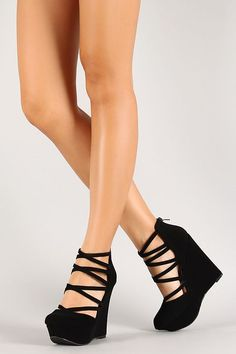 Nubuck Strappy Platform Wedge