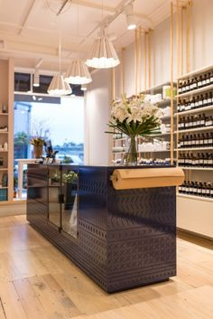 A close up of the navy patterned counter looking back to the shopfront.    Tonic Room (465 New North Road, Auckland)   Photo by the talented Jeremy Toth   Fit out by Material Creative.