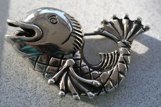 Great silver brooche - Happy Fish - by Eske Storm. Superb design of another underwaterworld creature.