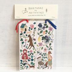 Hello! This is a listing of Illustrated bookmarks, watercolor bookmarks, woodland bookmarks, fairytale bookmarks, art bookmarks. This set contains 2 bookmarks, illustrated by me with watercolor. The one is inpired by the story of Little red riding hood, and the other A fox preparing the