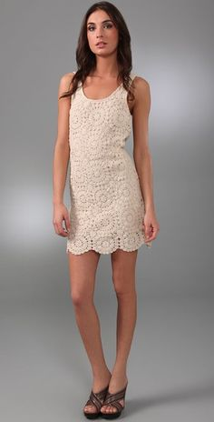 """Dallin Chase Nikolai Crochet Dress This scoop-neck crocheted dress features a scalloped hem. 1.5"""" straps. Lined.  * 34"""" long, measured from shoulder. Crochet. * Shell: 100% cotton. * Lining: 100% polyester."""