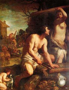 The building of Noah's ark.1608. Guido Reni. Italian.1575-1642. oil on canvas.